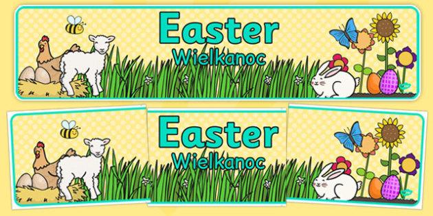 Easter Display Banner Polish Translation - polish, Easter Topic, Easter Banner, Happy Easter Banner, Easter Topic, Foundation, KS1, Easter, Easter resource, Easter teaching resource, Easter Display