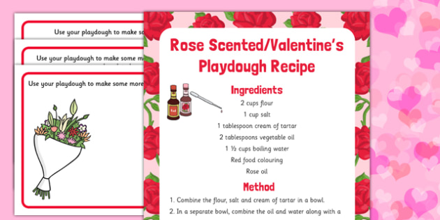 Valentine Playdough Recipe and Mat Pack - eyfs planning, fine motor skills, malleable recipes, malleable, early years