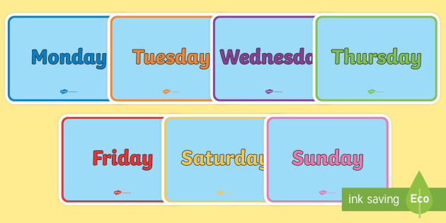 English Days of the Week Display Poster Pack - english, days of the week, display, poster, display poster, pack