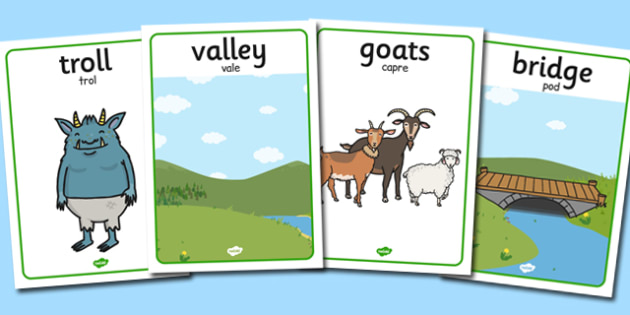 The Three Billy Goats Gruff Display Posters Romanian Translation