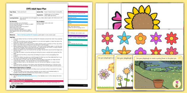 Flower-Themed Scissor Cutting Skills EYFS Adult Input Plan and Resource Pack