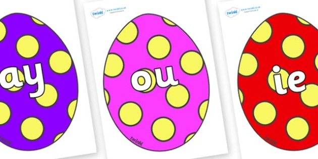 Phase 5 Phonemes on Easter Eggs (Spots) - Phonemes, phoneme, Phase 5, Phase five, Foundation, Literacy, Letters and Sounds, DfES, display
