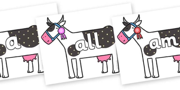Foundation Stage 2 Keywords on Cow to Support Teaching on What the Ladybird Heard - FS2, CLL, keywords, Communication language and literacy,  Display, Key words, high frequency words, foundation stage literacy, DfES Letters and Sounds, Letters and So