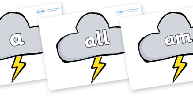 Foundation Stage 2 Keywords on Weather Symbols (Stormy) - FS2, CLL, keywords, Communication language and literacy,  Display, Key words, high frequency words, foundation stage literacy, DfES Letters and Sounds, Letters and Sounds, spelling