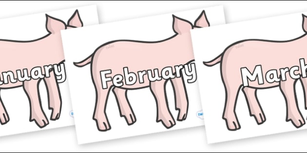 Months of the Year on Piglets - Months of the Year, Months poster, Months display, display, poster, frieze, Months, month, January, February, March, April, May, June, July, August, September