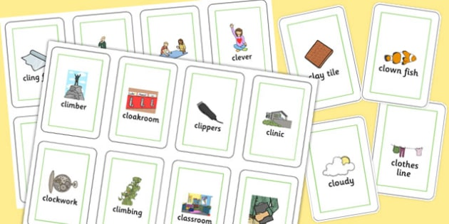 Two Syllable CL Flash Cards - two syllable, cl, flash cards, flash cards, speech, language