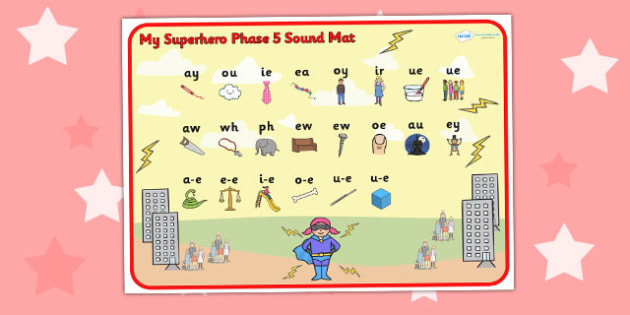 Superhero Themed Phase 5 Sound Mat - superheroes, phase five, mat