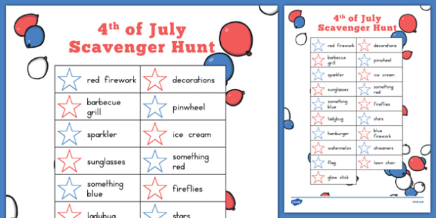 4th of July Scavenger Hunt - usa, america, 4th of July activities, independence day, scavenger hunt