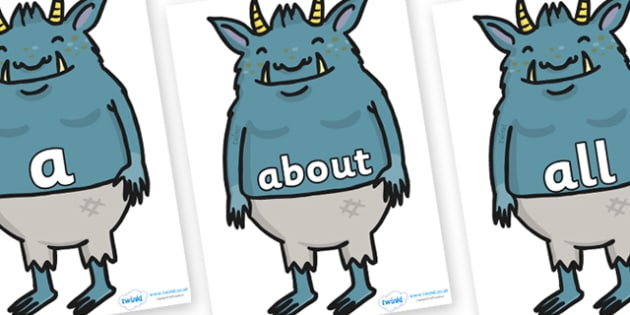 100 High Frequency Words on Trolls - High frequency words, hfw, DfES Letters and Sounds, Letters and Sounds, display words