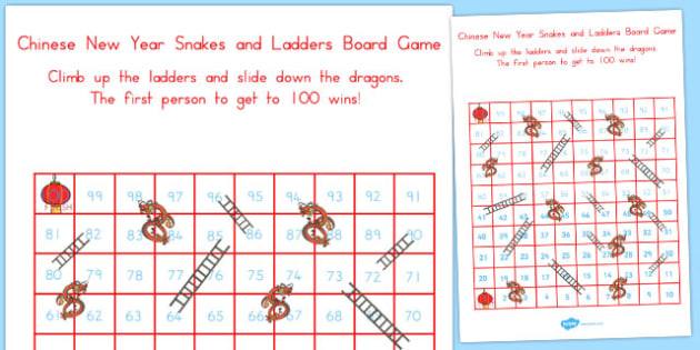 Chinese New Year Themed Snake Ladder Board Game 1-100 - australia