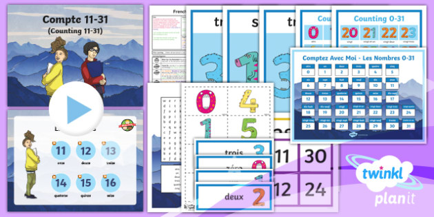 French: Time: Counting from 11-31 Year 3 Lesson Pack 1