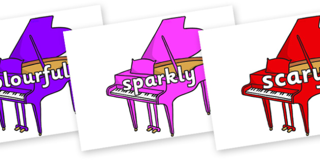 Wow Words on Baby Grand Pianos - Wow words, adjectives, VCOP, describing, Wow, display, poster, wow display, tasty, scary, ugly, beautiful, colourful sharp, bouncy