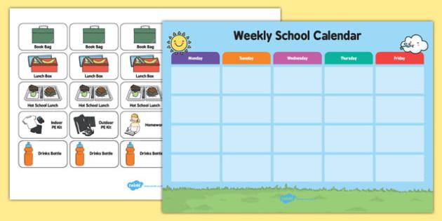 Weekly School Visual Calendar - weekly, school, visual, calendar