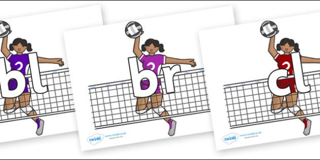 Initial Letter Blends on Volleyball Players - Initial Letters, initial letter, letter blend, letter blends, consonant, consonants, digraph, trigraph, literacy, alphabet, letters, foundation stage literacy