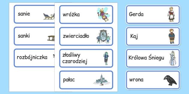 Karty ze słownictwem Królowa śniegu po polsku - baśnie, bajki