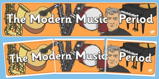 Modern Period Music Display Banner - modern, music, display