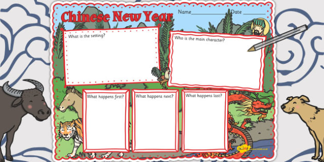 Chinese New Year Story Book Review Writing Frame - chinese, story