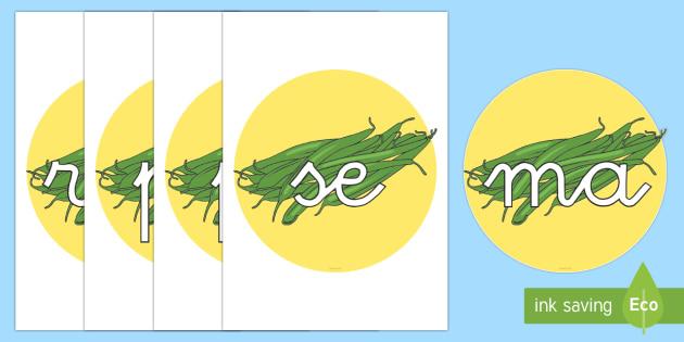 Tarjetas de sílabas: Judías verdes - lecto, leer, primeros sonidos,