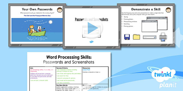 Microsoft Word Skills: Passwords and Screenshots - Year 3 Computing Lesson Pack