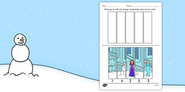 Winter Fairy Tale Number Sequencing Puzzle French - french, winter, fairy tale, number sequencing, puzzle, activity