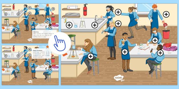 Laboratory Safety Picture Hotspots - KS3/4 Picture Hotspots, Safety, Hazard, Risk, Danger