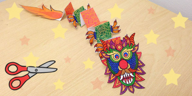 Chinese New Year Paper Craft Dragon - chinese new year, dragon
