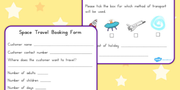 Space Travel Agents Role Play Booking Forms - australia, font
