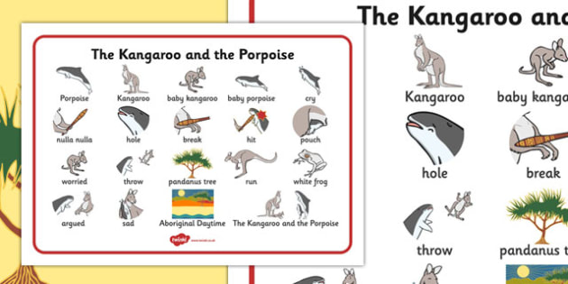The Kangaroo and the Porpoise Word Mat - australia, the kangaroo and the porpoise, aboriginal, dreamtime, story, tale, word mat