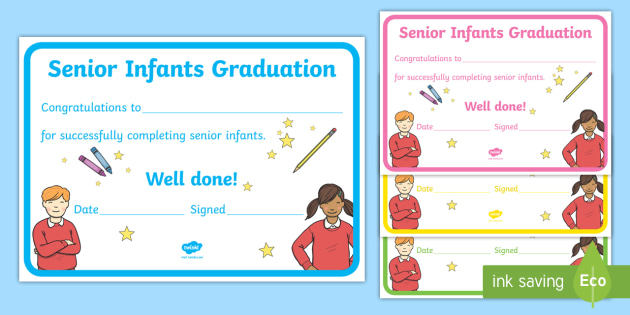 Senior Infants Graduation Certificate  End Of School Term