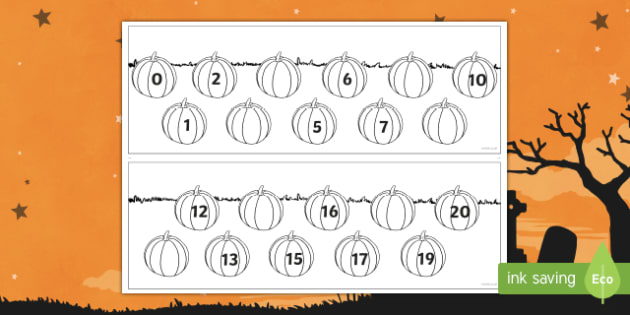 Halloween Themed Missing numbers to 20 Activity Sheet