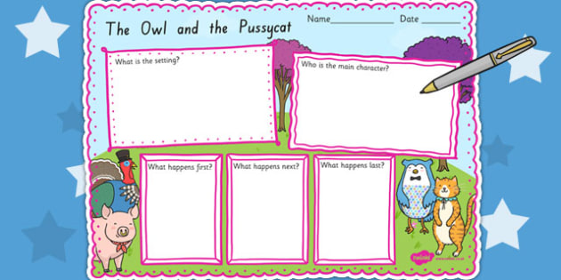 The Owl and The Pussycat Story Review Writing Frame - writing aid