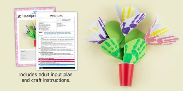 3D Handprint Flowers Craft EYFS Adult Input Plan and Resource Pack- adult led