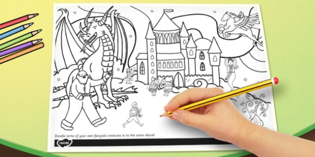 Fairytale Themed Doodle Page - doodle, page, fairytale, fairy