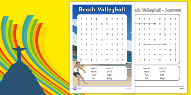 Rio 2016 Olympics Beach Volleyball Word Search - rio 2016, rio olympics, 2016 olympics, beach volleyball, word search