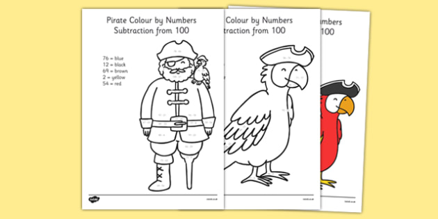 Pirate Colouring Sheets Twinkl : Pirate themed subtraction from 100 colour by numbers pirate