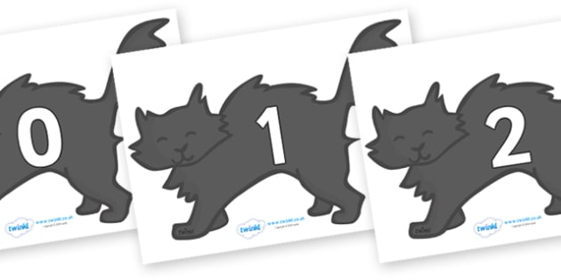 Numbers 0-100 on Black Cats - 0-100, foundation stage numeracy, Number recognition, Number flashcards, counting, number frieze, Display numbers, number posters