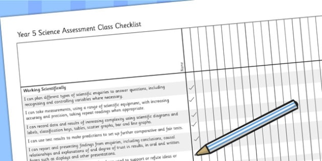 2014 Curriculum Year 5 Science Assessment Class Checklist - target