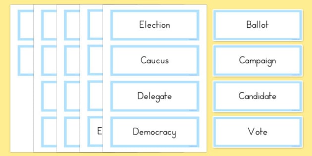 USA Election Vocabulary Word Cards - usa, america, US Resources, Election, Vocabulary