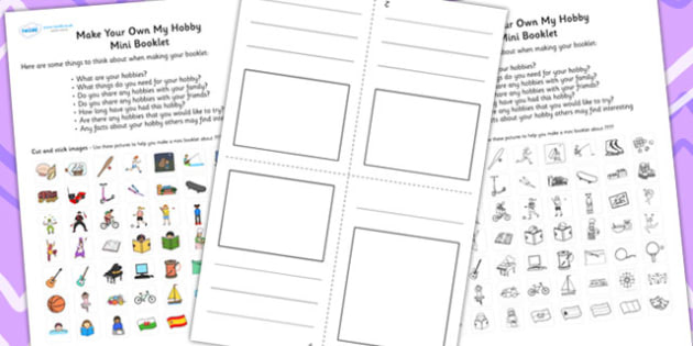 Make Your Own My Hobbies Mini Booklet - hobbies, booklet, design