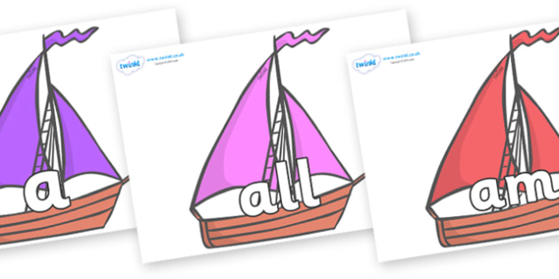Foundation Stage 2 Keywords on Sailing Boats to Support Teaching on Where the Wild Things Are - FS2, CLL, keywords, Communication language and literacy,  Display, Key words, high frequency words, foundation stage literacy, DfES Letters and Sounds, Le