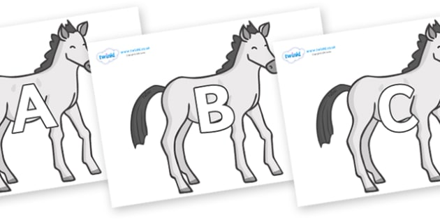 A-Z Alphabet on Ponies - A-Z, A4, display, Alphabet frieze, Display letters, Letter posters, A-Z letters, Alphabet flashcards