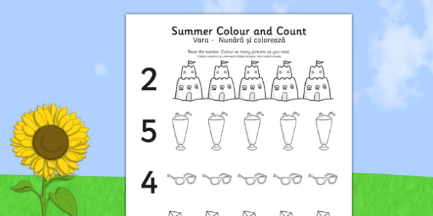 Summer Themed Count and Colour Sheet Romanian Translation - romanian, colour, count, summer