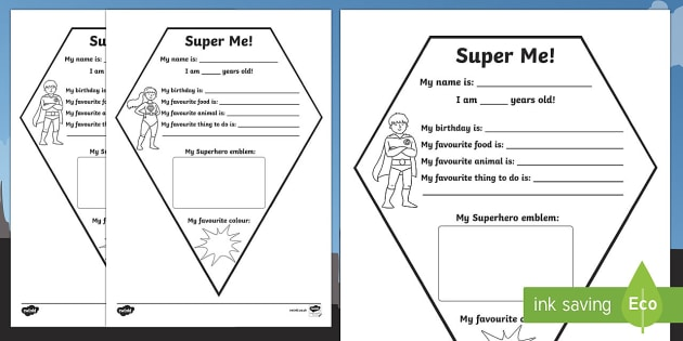 All About Me Superhero Emblem Activity Sheet, worksheet