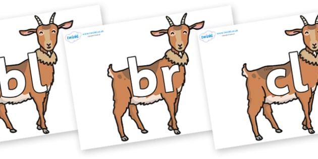 Initial Letter Blends on Medium Billy Goats - Initial Letters, initial letter, letter blend, letter blends, consonant, consonants, digraph, trigraph, literacy, alphabet, letters, foundation stage literacy