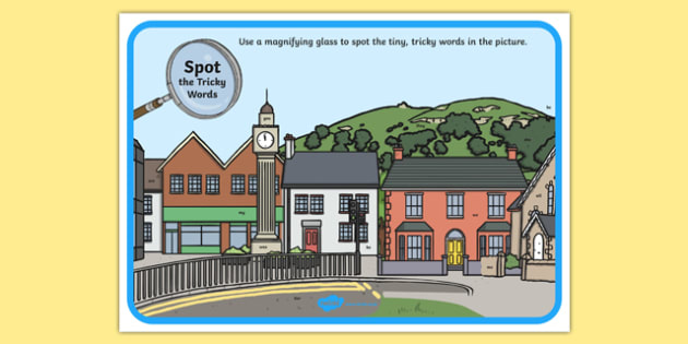 R7094 Phase 3 Tricky Words Town Scene Magnifying Glass Activity Sheet, worksheet