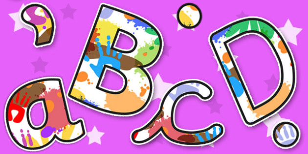 Messy Play Themed Size Editable Display Lettering - display