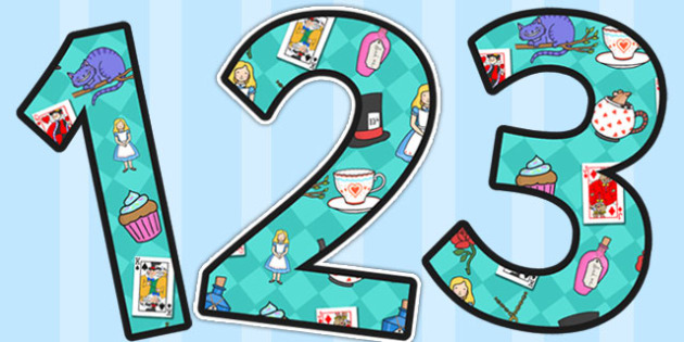Alice in Wonderland Themed A4 Display Numbers - display, numbers