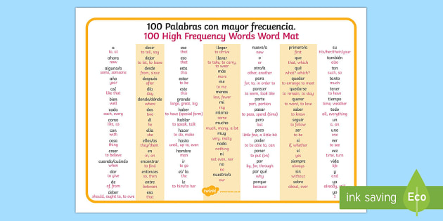 100 High Frequency Words Word Mat English/Spanish