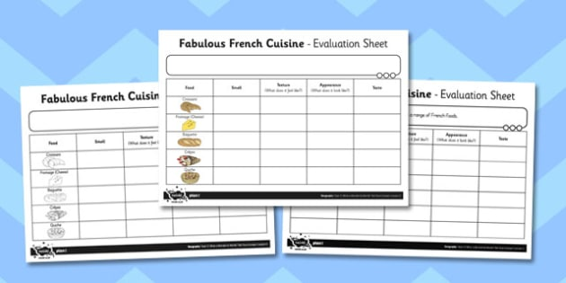 What a Wonderful World Fabulous French Cuisine Evaluation Sheet
