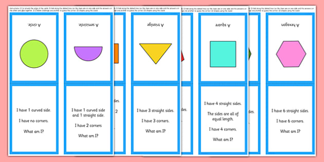2D Shape What Am I? Game - 2D shapes, circle, semi-circle, triangle, square, rectangle, pentagon, hexagon, octagon